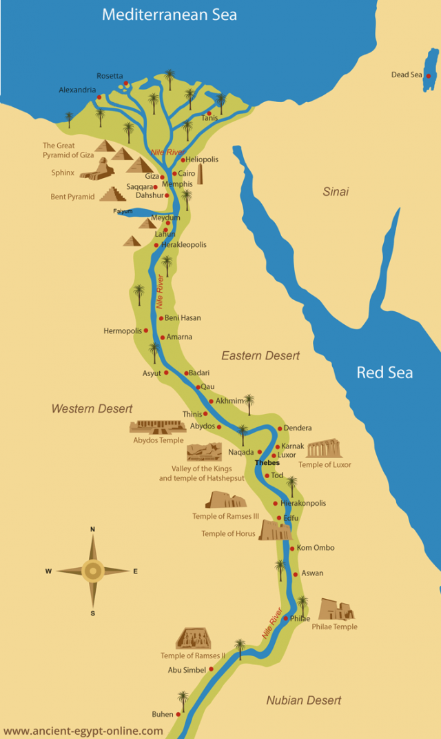 Map of ancient egypt from ancient egypt online 1