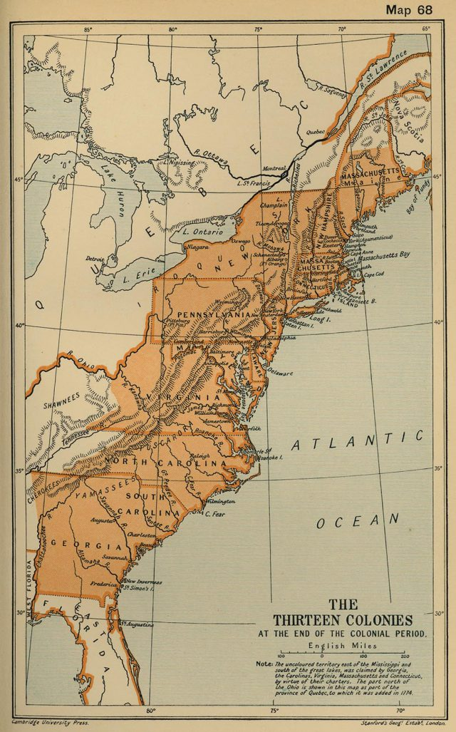 Map Of Colonial America
