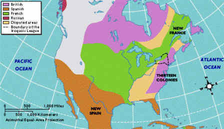 Map of colonial america from landofthebrave 1