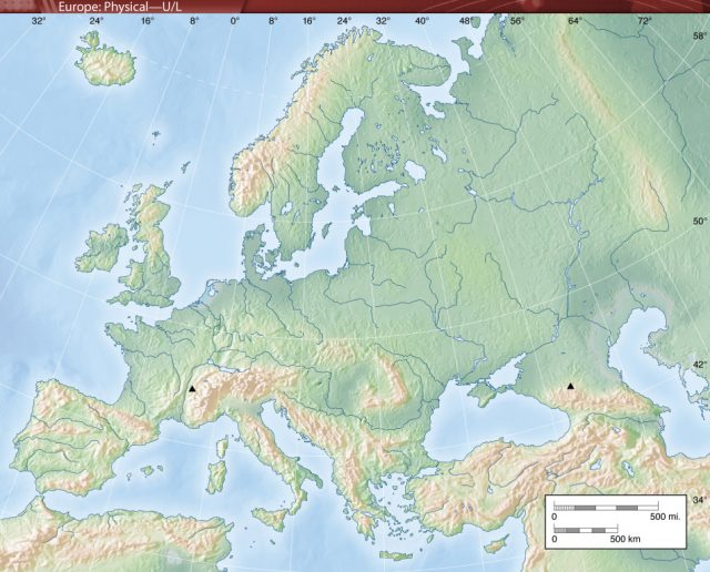 Map Of Europe Physical