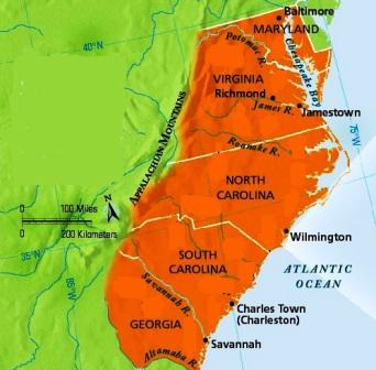 Map of the southern colonies from landofthebrave 1