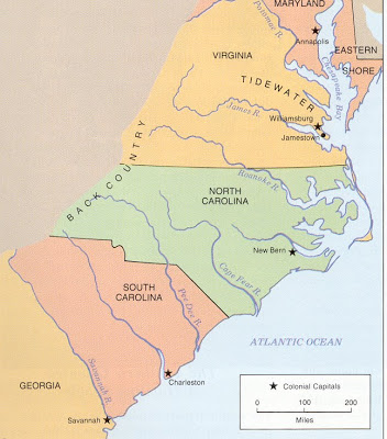 Map Of The Southern Colonies