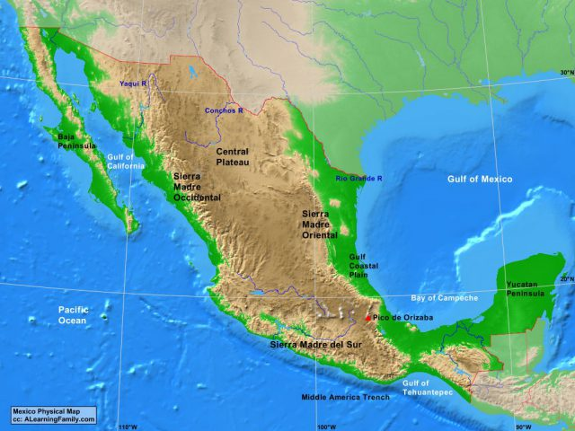 Mexico Physical Map