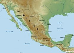 Mexico Physical Map: Mexico physical map from mapswire 1
