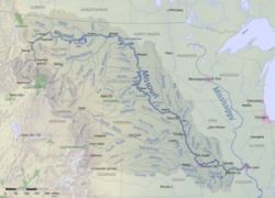 Missouri River Map: Missouri river map from en 1