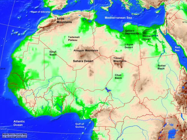 North Africa Physical Map