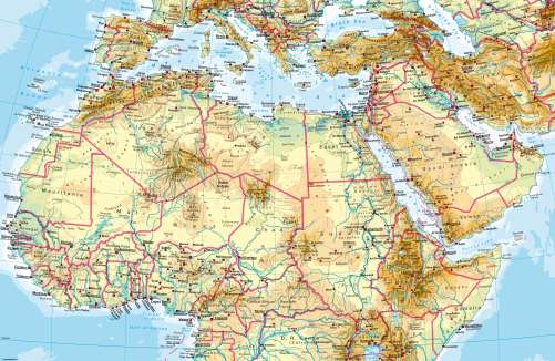 North africa physical map from diercke 1