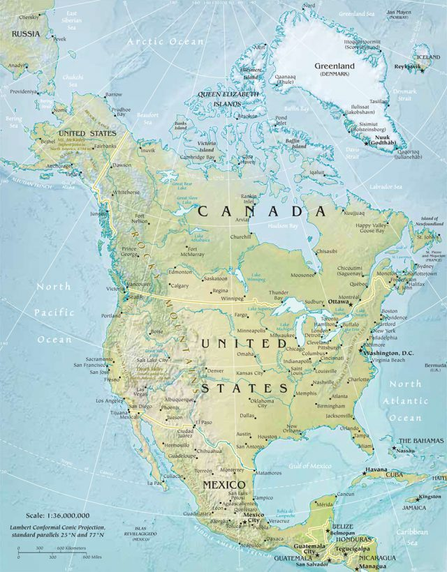 North america physical map from geographicguide 1
