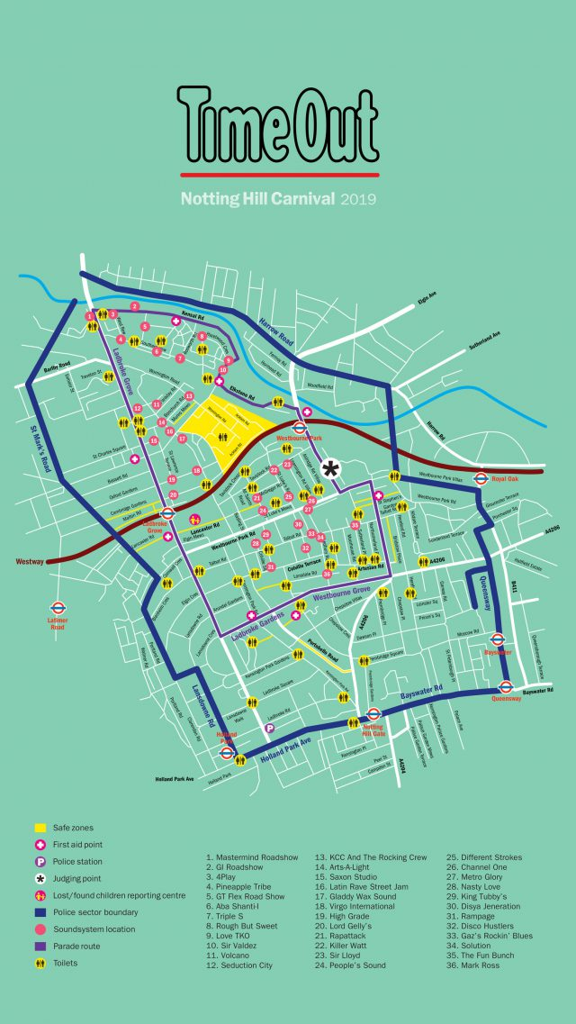 Notting hill carnival map 2020 from timeout 1