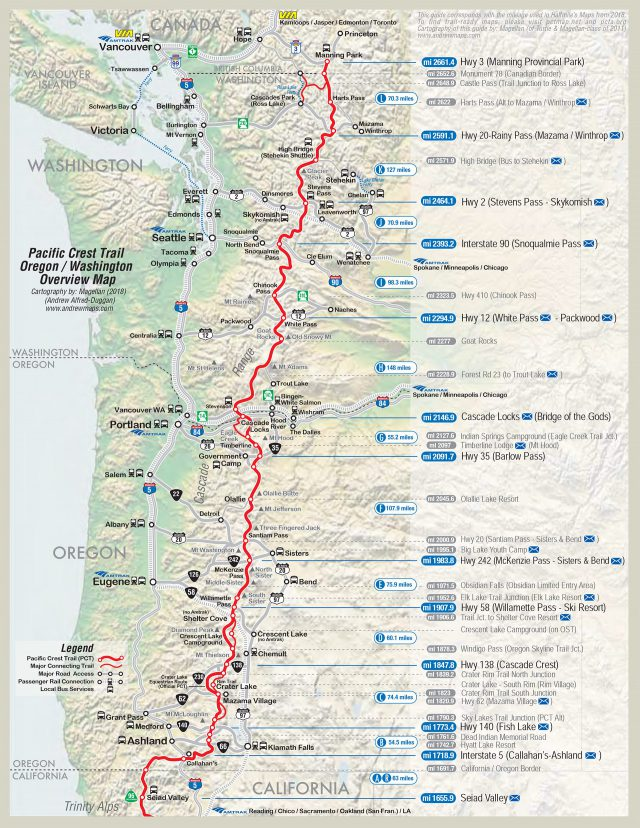 Pacific crest trail map from pcta 1