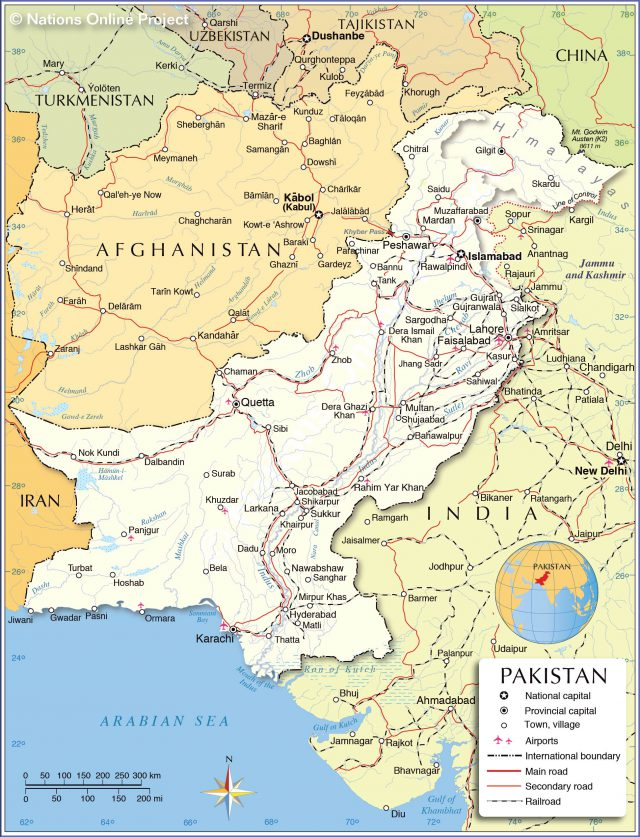 Pakistan political map from nationsonline 1