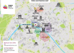 Paris Attractions Map: Paris attractions map from pariscityvision 1
