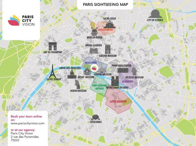 Paris attractions map from pariscityvision 1