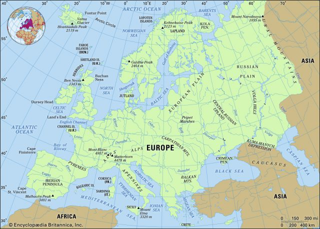 Physical features map of europe from britannica 1