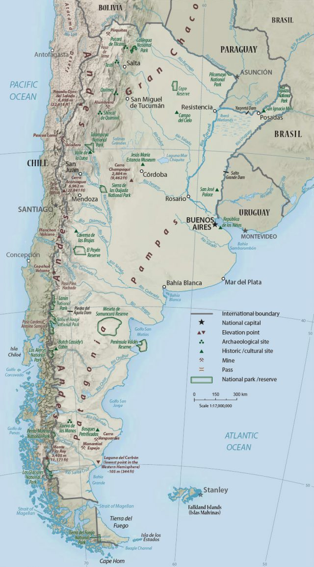 Physical map of argentina from geographicguide 1