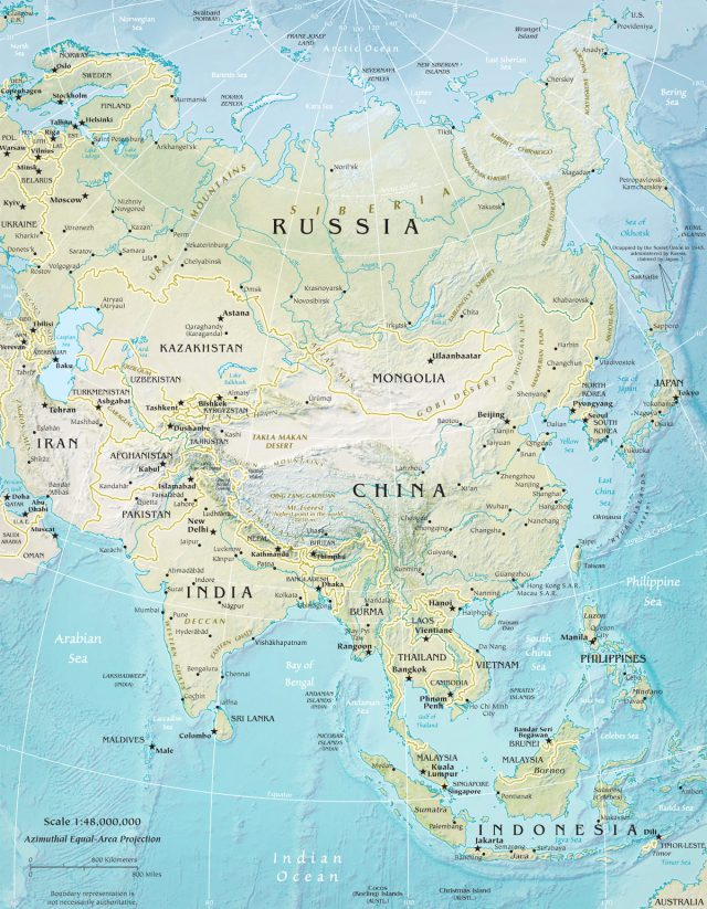 Physical map of asia from geographicguide 1