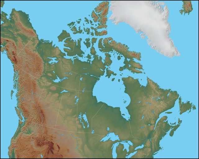 Physical map of canada from geology 1