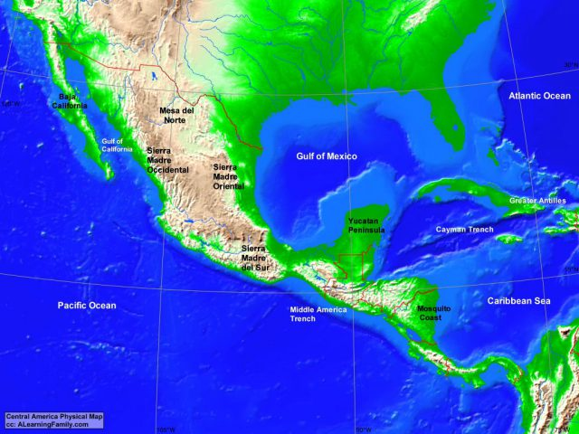 Physical Map Of Central America