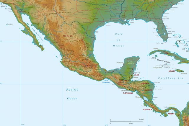 Physical map of central america from maps world 1