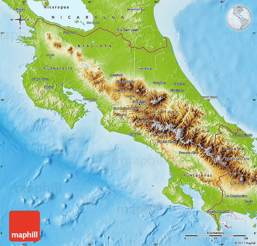 Physical Map Of Costa Rica From Maphill 1