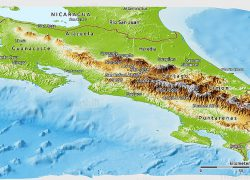 Physical map of costa rica from maphill 4