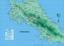 Physical map of costa rica from vidiani 3