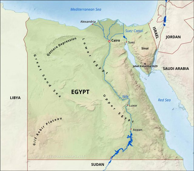 Physical Map Of Egypt