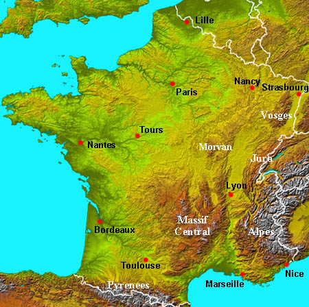 Physical map of france from about france 1