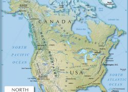 Physical Map Of North America: Physical map of north america from nationsonline 1