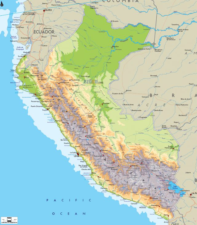Physical Map Of Peru