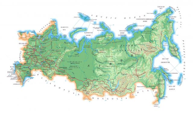 Physical Map Of Russia