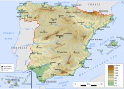 Physical Map Of Spain: Physical map of spain from worldatlas 1