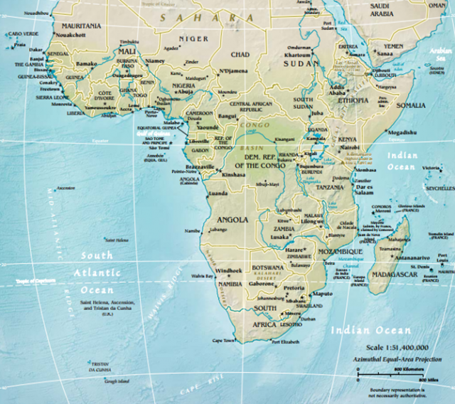Physical map of sub saharan africa from worldgeo 1