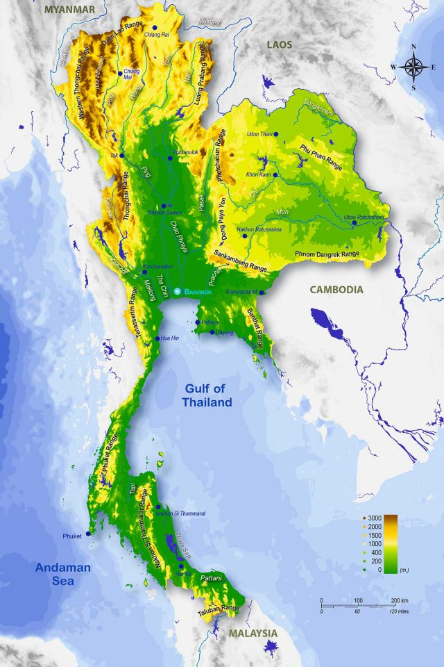 Physical Map Of Thailand