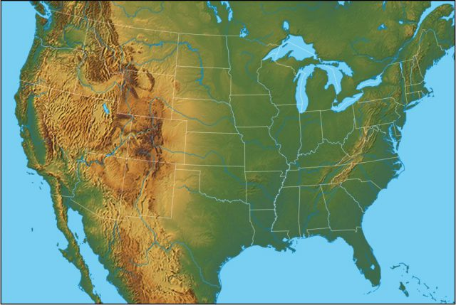 Physical map of us from geology 1