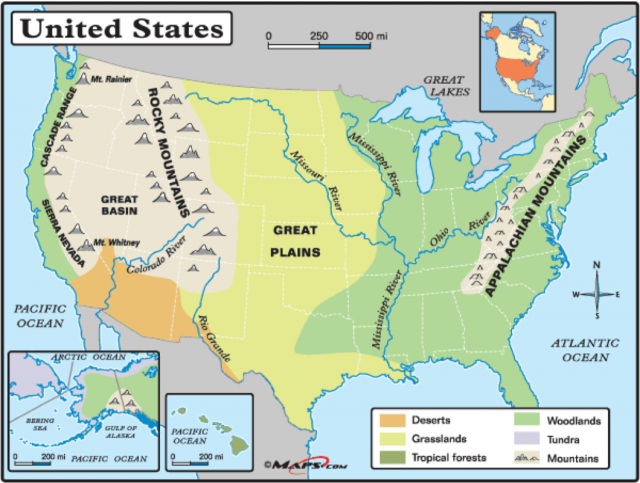 Physical Map Of Us