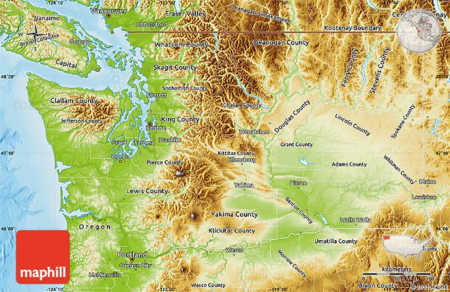Physical map of washington state from maphill 1