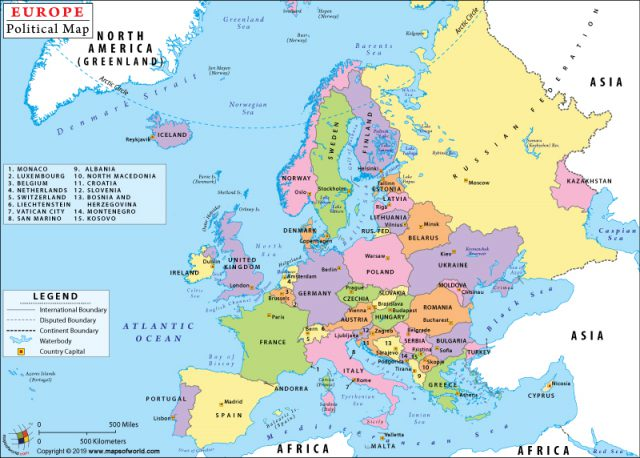 Political map of europe from mapsofworld 1