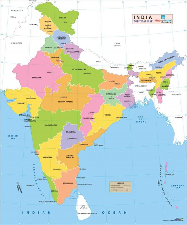 Political Map Of India 2020