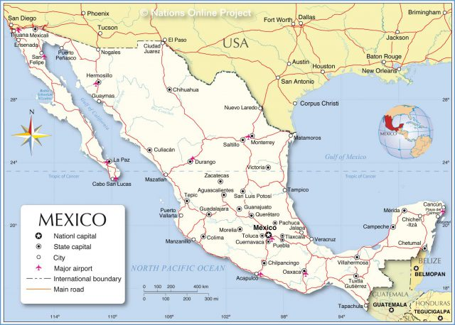 Political map of mexico from nationsonline 1
