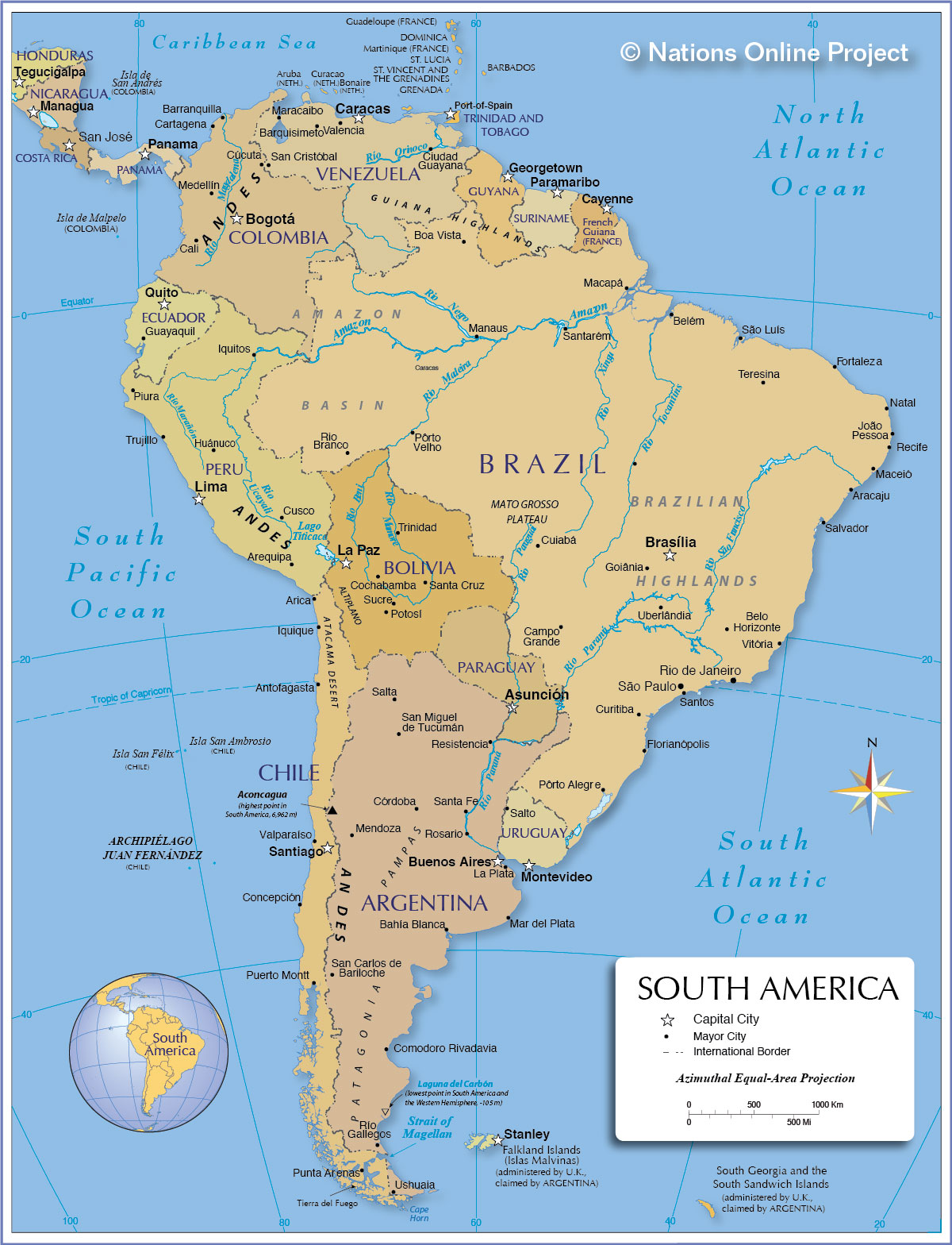 Political Map Of South America From Nationsonline 1