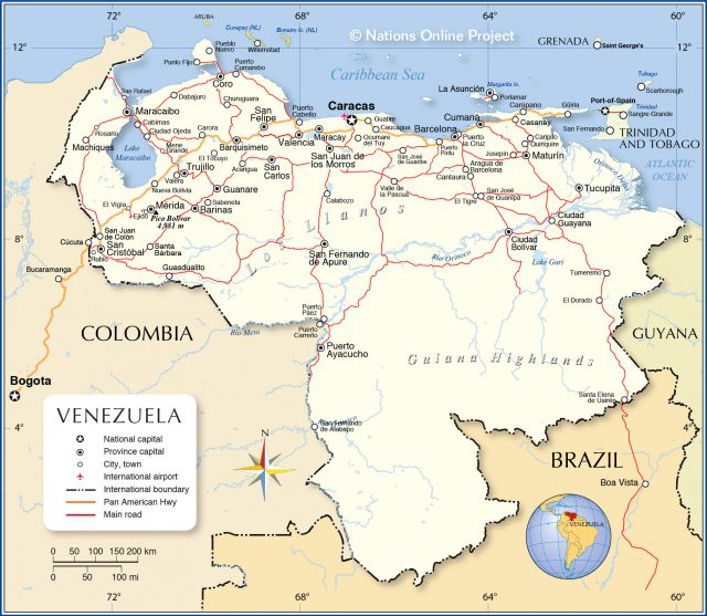 Political map of venezuela from nationsonline 1