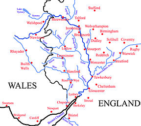 River severn map from en 1