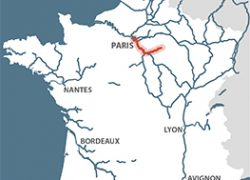 Seine River Map: Seine river map from french waterways 1