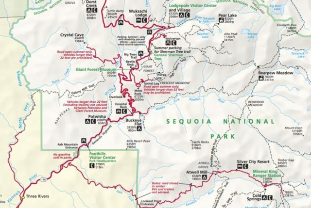 Sequoia national park map from myyosemitepark 1