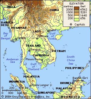 Southeast asia physical map from britannica 1