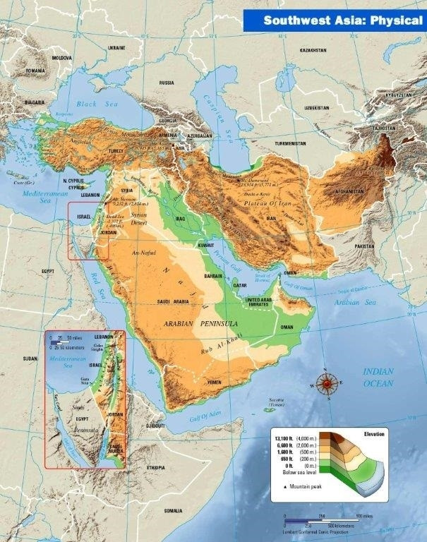 Southwest Asia Physical Map