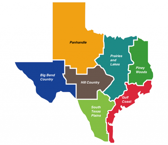 Texas regions map from touropia 2