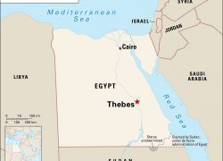 Thebes Egypt Map: Thebes egypt map from britannica 1