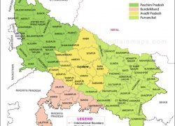 Uttar Pradesh Political Map: Uttar pradesh political map from in 1
